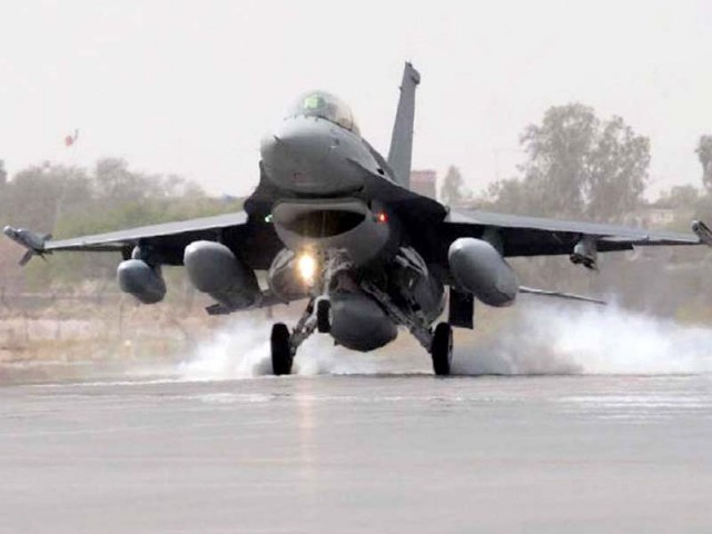 An F-16 lands at the PAF Base in Jacobabad. PHOTO: FILE