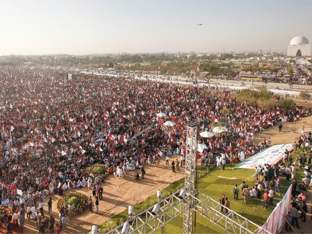 MQM supporters gather at the Mazar-e-Quaid grounds for the all-women rally. PHOTO: ATHAR KHAN/EXPRESS