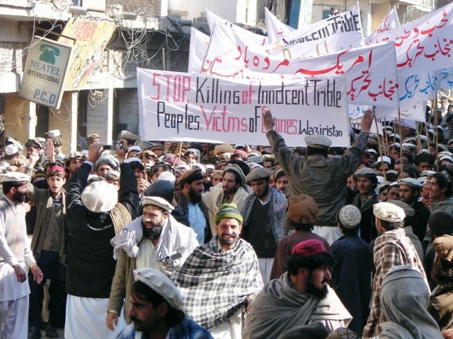 File photo of tribesmen at a protest rally against the US drone attacks, in Miranshah, the main town in North Waziristan district. PHOTO: AFP/FILE