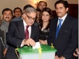 Punjab Chief Minister Shahbaz Sharif casting his vote. PHOTO: INP