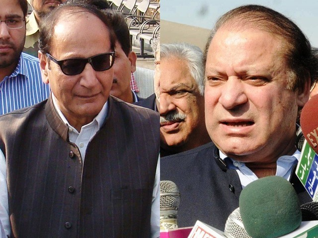 Both Nawaz Sharif (R) and Chaudhry Shujaat Hussain (L)  saying that the other should apologize first, before considering talks.