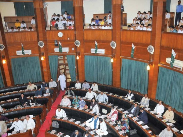 Students from Foundation Public School showed up at the Sindh Assembly on Monday to watch the proceedings. PHOTO: EXPRESS