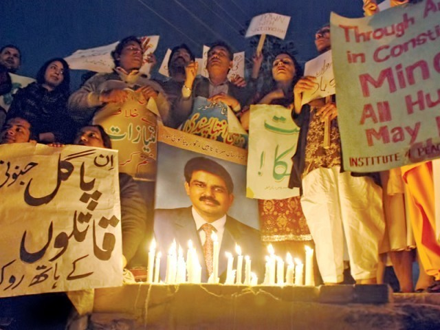 A candle light vigil held for Shahbaz Bhatti.