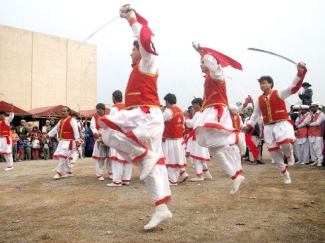 The FC folk dance group performs at Nishtar Hall. PHOTO: THE EXPRESS TRIBUNE