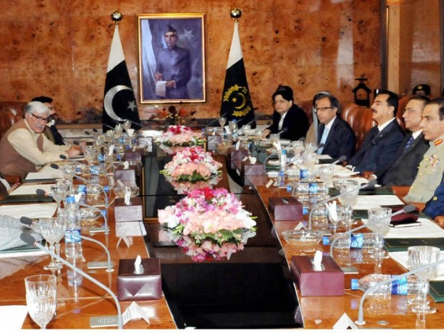 President Asif Ali Zardari, Prime Minister Yousaf Raza Gilani attend a meeting of coalition partners at Aiwan-e-Sadr on March 14 2012 with COAS Ashfaque Pervez Kayani, Air Marshall Rao Qamar Suleman and DG ISI Lt Gen Shuja Pasaha. PHOTO: PID