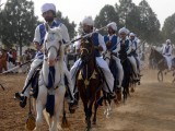 Wearing traditional kullah caps over shalwar-kameez and waist coats, riders from different parts of Punjab and K-P are participating in the competition. PHOTO: QAZI USMAN/ EXPRESS