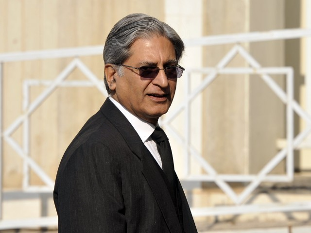 """ You told the prime minister, who happens to be a 'pir,' that he deviated from the holy Quran by not writing the Swiss letter,"" PM counsel Aitzaz Ahsan to the Supreme Court bench. PHOTO: AFP/ FILE"