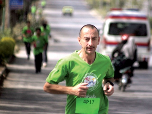 People from all walks of life, including the international marathon runner Mimmo Caraccioli participated in the race. PHOTO: MUHAMMAD JAVAID
