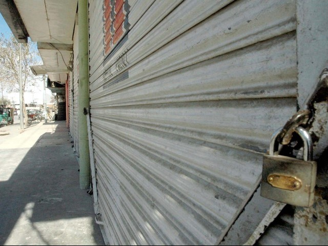 A complete shutter down and wheel jam strike was observed in parts of Balochistan. PHOTO: PPI/ FILE