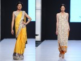 Nida Azwer Azwer's 'Parinda' collection was a peculiar mix of all that she does and is known for - from angarkhas and bridal wear to embroidered coat and saris - nature remained in focus with peacock motifs highlighting some of the garments.