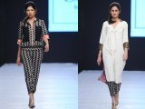 Sania Maskatiya: Her pret-a-porter collection, 'Matyala' rocked the ramp. With multiple hemlines using different fabrics on the back, her geometric zig-zaggy collection was truly artistic.