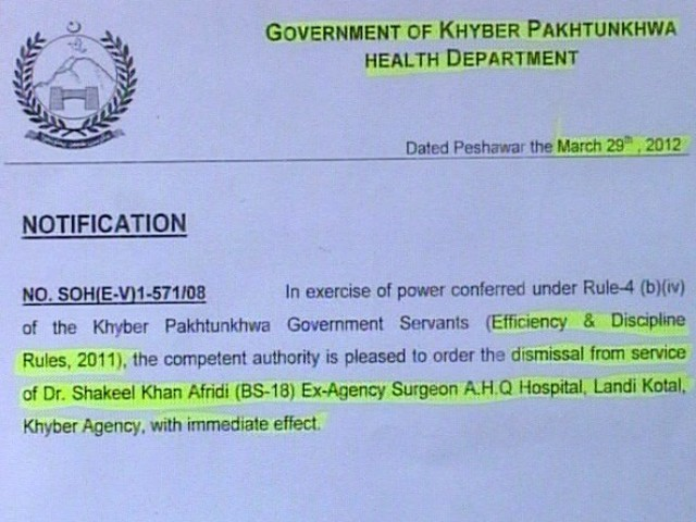 Health department issues notification for Afridi's termination for his involvement in anti-state activities.
