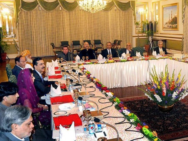 Prime Minister Yousaf Raza Gilani chairs a high level meeting with parliamentary leaders at the Prime Minister's house on Thursday. PHOTO: APP