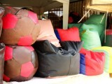 Some of the colourful beanbags displayed at the Defence Sunday Bazaar in Karachi. PHOTO: AYESHA MIR/EXPRESS
