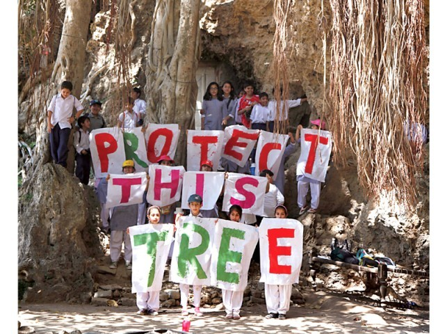 Budding young tree huggers exhibit their enthusiasm for the environment, protesting the recent loss of foliage in the capital. PHOTO: MYRA IQBAL