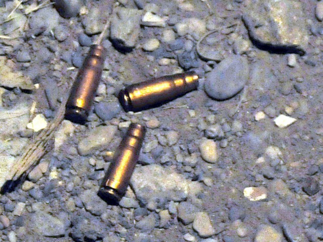 Police revealed that they had managed to recover empty shells of the bullets shot at the officers, supposedly fired from an AK-47. PHOTO: MOHAMMAD SAQIB/FILE