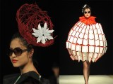 Models display creations by a group of Kyrgyz designers 'Nazik Kyz' during a Fashion Week in Bishkek, on April 4 2012. PHOTO: AFP