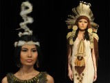 Models display creations by a group of Kyrgyz designers 'NAH' during a Fashion Week in Bishkek, on April 4 2012. PHOTO: AFP