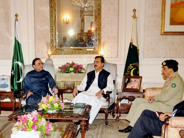 Troika meets on eve of departure; Khar, Malik also attend meeting. PHOTO: PID