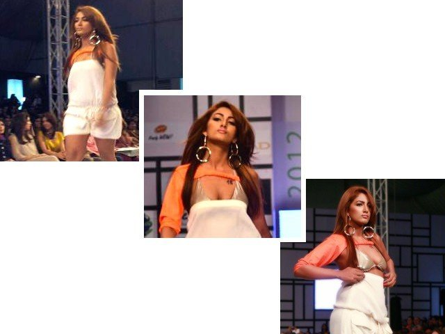A wardrobe malfunction mid-stride left Mathira partially exposed, as her white top fell down. PHOTOS SOURCE: TWITTER.COM