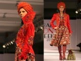 Models walk on ramp during Islamabad Fashion Week 2012 at Pak-China Friendship Centre on Tuesday. PHOTO: MUHAMMAD JAVAID/ EXPRESS TRIBUNE