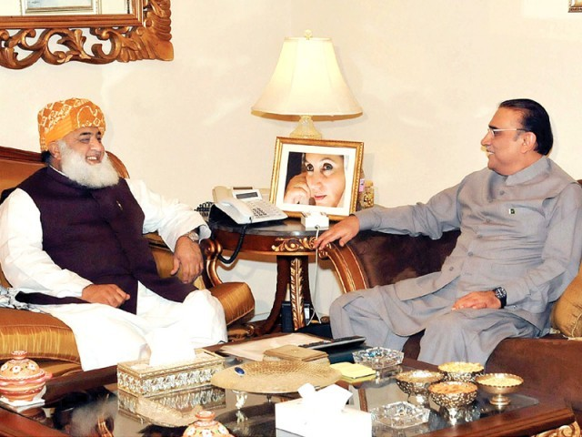 President Asif Ali Zardari meeting with JUI-F chief Fazlur Rehman on Wednesday. PHOTO: PPI