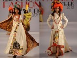 Models walk on ramp on 2nd day of Islamabad Fashion Week 2012 at Pak-China Friendship Centre on Wednesday. PHOTO: Express Tribune/Muhammad Javaid