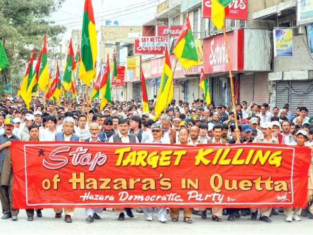 Protesters shout slogans during a rally in Quetta, against the killing of Hazara community members. Rallies were staged across the country against sectarian violence. PHOTO: AFP