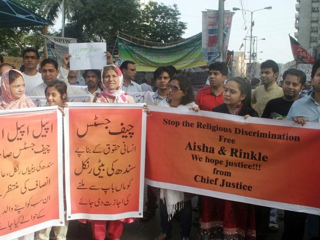 At a protest held against forced conversions at the press club on Sunday, Das said that Asha's family refuses to believe her statement as they know that she was forcefully converted and married off. PHOTO: PPI
