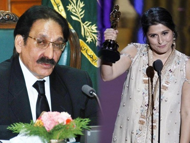 "PTI chairman Imran Khan praises Chaudhry, while Angeline Jolie says Chinoy ""belongs to a monumental campaign"". PHOTO: FILE"