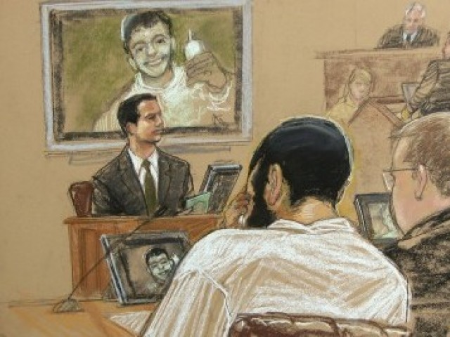 Courtroom sketch of Canadian defendant Khadr sitting with defense team during the hearing. PHOTO: REUTERS