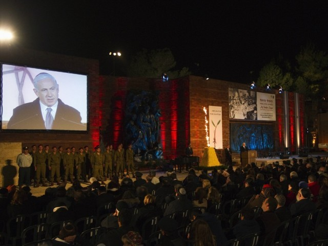 Israel's Prime Minister Benjamin Netanyahu speaks during the opening ceremony of the annual Holocaust Memorial Day at the Yad Vashem Holocaust Memorial in Jerusalem. PHOTO: REUTERS