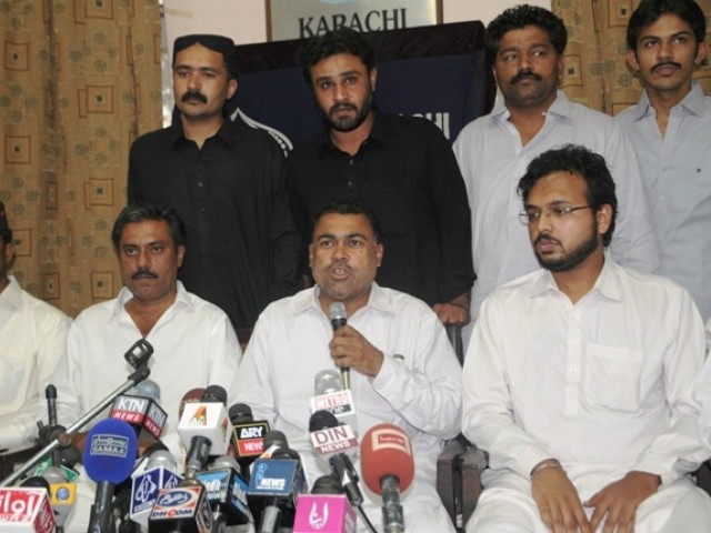 Dr Niaz Kalani, the party's senior vice chairperson, secretary general Asif Baladi and other party leaders held a press conference. PHOTO: EXPRESS/IRFAN ALI