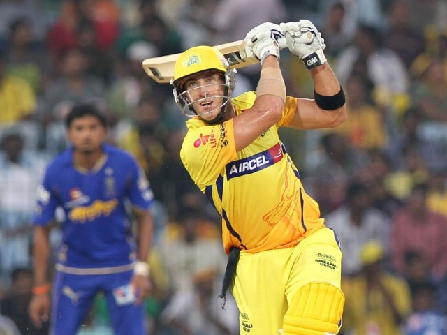Chennai Super Kings batsman Francois Du Plessis hits a six during the IPL Twenty20 cricket match between Chennai Super Kings and Rajasthan Royals at The M.A.Chidambaram Stadium. PHOTO: AFP