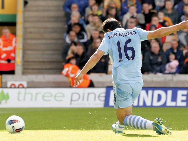 Aguero's goal against Wolves was crucial to City's hopes of catching the leaders. PHOTO: AFP