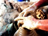 A vase being shaped by a potter. PHOTO: ARIF SOOMRO/ EXPRESS