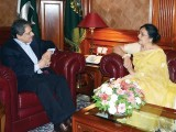 Sindh Governor Dr Ishratul Ebad Khan meets actor Shabnam. PHOTO: NNI