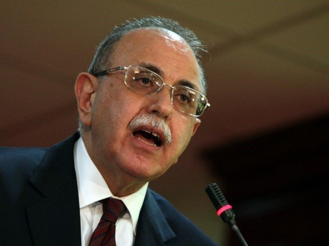 Libya's interim prime minister Abdel Rahman al-Kib speaks during a press conference in Tripoli on April 25, 2012 where he accused the ruling National Transitional Council of hindering his government's efforts to hold elections for a constituent assembly on time. PHOTO: AFP