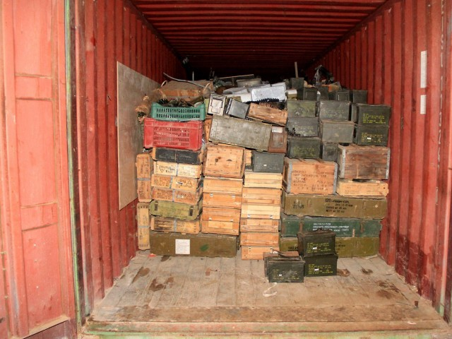 "A handout picture released by the Lebanese army on April 28, 2012 shows crates of ammunition inside one of the containers of the vessel ""Lutfallah II"" at the port of Selaata, north of Beirut. PHOTO: AFP"