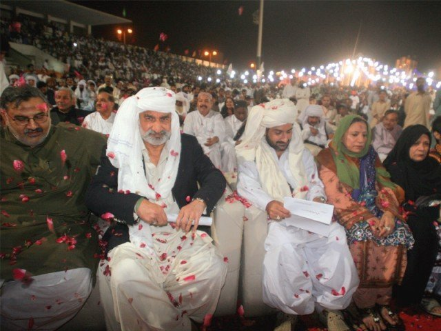 In this file photo Uzair Baloch and Dr Zulfiqar Mirza sit side by side on Baloch Cultural Day. Now that Uzair Baloch and his followers have publicly denounced Pakistan Peoples Party, they are looking to Mirza who used to vow to fight for Lyari till he died.  PHOTO: ATHAR KHAN/EXPRESS