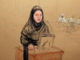 Bin Attash's lawyer Cheryl Bormann appeared in court wearing an abaya and hijab, and requested the prosecution teams to do the same. SKETCH: JANET HILMAN