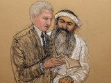 Khalid Shaikh Mohammad consults his lawyer David Nevin during court proceedings on May 5 in Guantanamo Bay. SKETCH: JANET HAMLIN