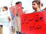 Bramch Baloch has not ever met her father (top); protesters outside the press club. PHOTO: MUHAMMAD JAVAID/SANA