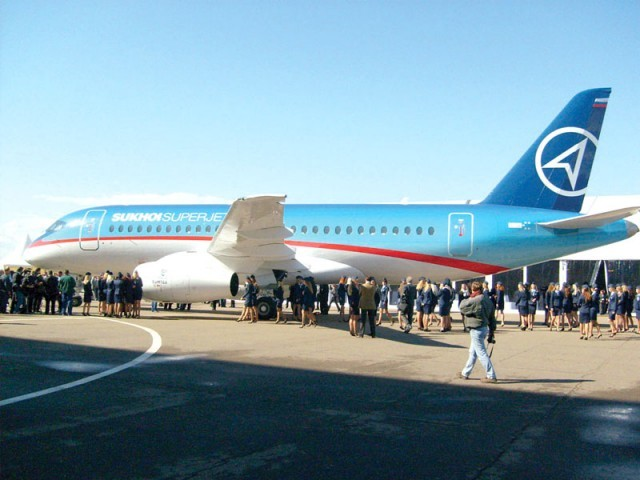 Sukhoi Superjet 100 is a modern 100-seat jet.