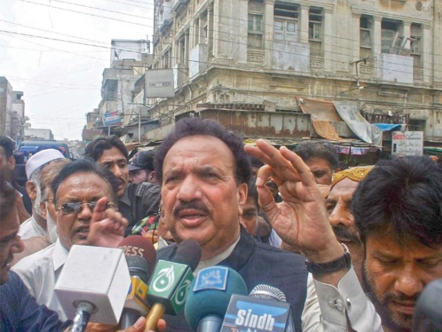 Federal Interior Minister Rehman Malik visited the peripheries of Lyari and insisted that the media should stop calling the police work an operation. PHOTO: PPI