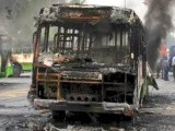 Protesters set 3 buses on fire; Race Course police registers 3 FIRs. PHOTO: ABID NAWAZ AND WASIM NIAN/EXPRESS