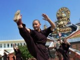 The sisters of the Amitabha Drukpa Nunnery believe kung fu will help them be better Buddhists. PHOTO: AFP