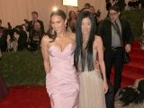 "Designer Vera Wang (R) and actress Paula Patton arrive at the Metropolitan Museum of Art Costume Institute Benefit celebrating the opening of the ""Schiaparelli and Prada: Impossible Conversations"" exhibition in New York, May 7, 2012. PHOTO: REUTERS"