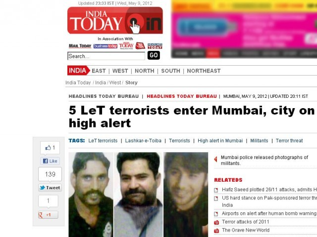 This screenshot from India Today shows the news and pictures of three of the five suspected terrorists who had allegedly sneaked into Mumbai. PHOTO: INDIA TODAY SCREENSHOT