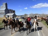 Wranglers lead a herd of wild horses during Montana Horses' annual horse drive outside Three Forks, Montana, May 6, 2012.  PHOTO: REUTERS